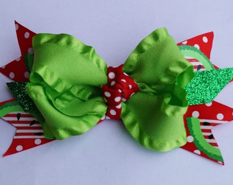 Watermelon hair bow - watermelon - headband - red and green hair bow