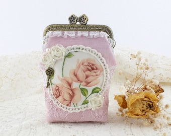 Coin purse Clasp purse Kiss lock coin purse Coin pouch Pink pouch Shabby chic Linen pouch Vintage rose Card wallet women Change purse