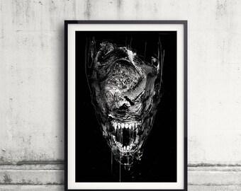 Alien Poster, Alien Art, Movie Wall Art, Monster Art, Surreal Art, Acrylic Painting, Art Prints, Black and white art, Ink Alien Art, Aliens