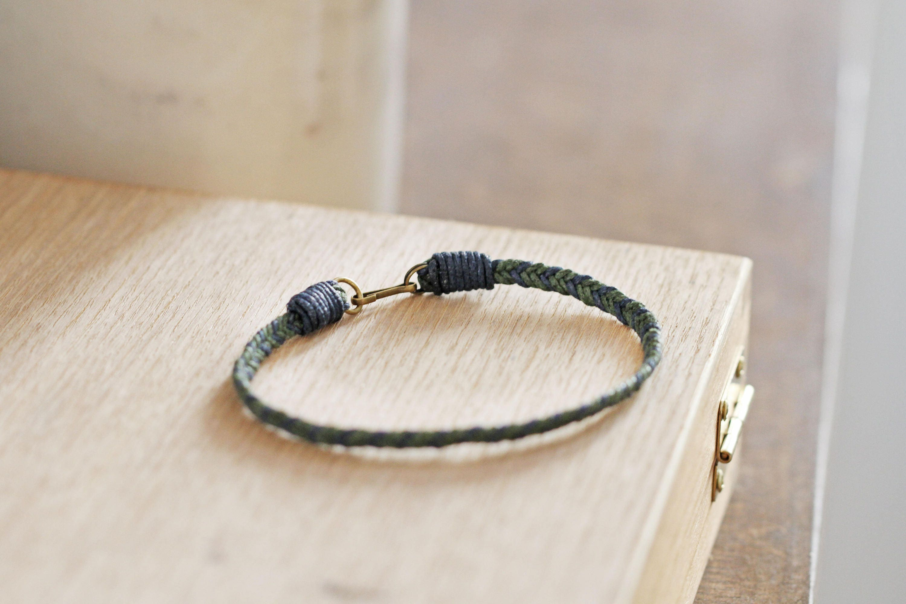 Beautiful Green Blue Men's Friendship Bracelet, Gift for him, Cotton Cord  CA26