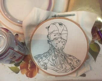 Latex mask bdsm embroidery