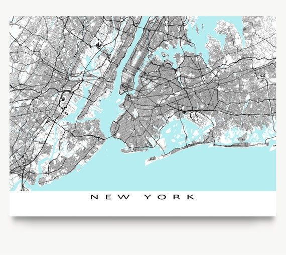 stadtplan new york karte print new york city art nyc street. Black Bedroom Furniture Sets. Home Design Ideas