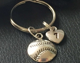 baseball keychain with hand stamped player number, baseball key ring, baseball mom keychain, softball charm, softball team gifts