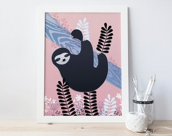 Sloth print -  Sloth hanging upside down in a tree art print