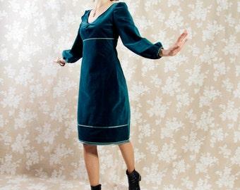 Dress BIO-Briana: organic cotton, fine-corduroy, petrol