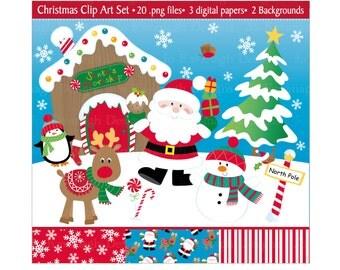 Christmas Clipart,Christmas Clip Art,Santa Clipart,Holiday Clipart,Clipart,Christmas Digital Paper,Reindeer,Snowman,Scrapbooking,Commercial