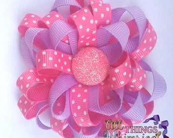 Pink and Purple Round Loopy Hair Bow