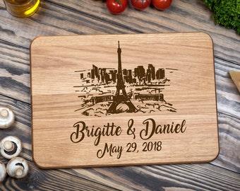Paris Cutting Board, Wood Cutting Board, Cutting Board, Custom Cutting Board, Chopping Board, Personalized, Wedding Gift, Housewarming Gift