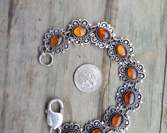 Sterling Amber Flower Bracelet