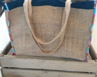 Bag Tote in beige natural burlap to the blue outline, Totebag custom made hands