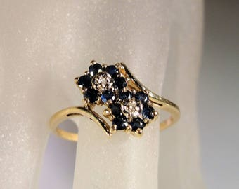 10K Gold Ring, Blue Sapphire Ring, Sapphire Diamond Ring, Blue Flower Ring, By Pass Ring, Flower By Pass Ring, Vintage Ring – Size 8.5
