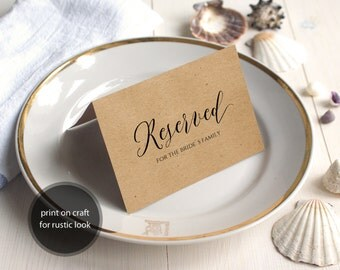 PDF Template 5x3.5 tent style Reserved For Brides Grooms Family sign INSTANT DOWNLOAD Wedding calligraphy Reserved Cards Printable Digital