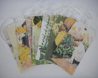 Easter Tags:  Vintage Easter Flower IllustrationTags