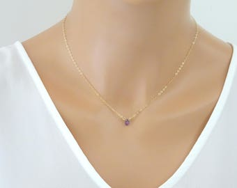 Amethyst necklace, Crystal  gemstone Drop Necklace, February Birthstone, Layering Necklace, Bridesmaid purple necklace, Gold Amethyst