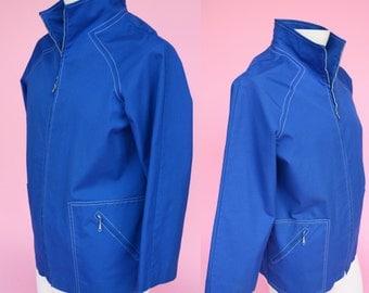 70s, Blue, Track Jacket, Unisex Coat // Vintage 1970s, Sportswear, Outerwear, Costume