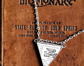 Vintage dictionary Sphinx illustration triangle necklace