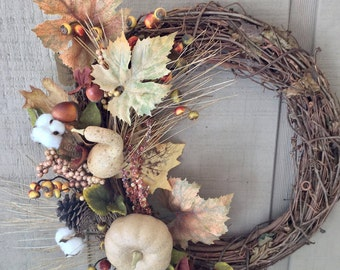 Fall Door Wreath, Thanksgiving Decor, Holiday Wreath, Autumn Pumpkins and Gourds, Fall Leaves Acorns and Berries, Cotton Boll Wreath,