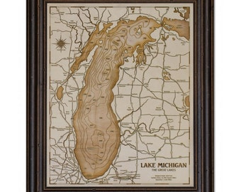 Great Lakes Single Layer Wood Engraved Depth Contour Map - Customize With Your Lake and Home Information