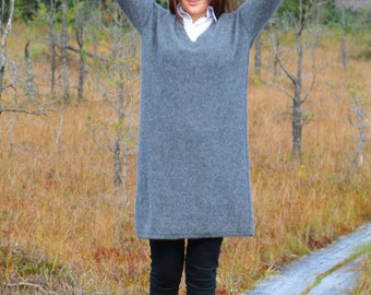 Alpaca sweater dress loose with  V neck by KNITOMANIAC, eco friendly