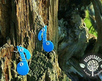 Recycled Plastic Bottles Earrings Musical Notes Ecofriendly Earrings Upcycled Handmade jewelery by RecuperArte