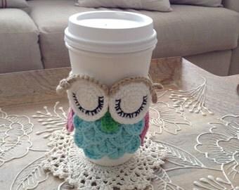 Handmade Crochet Scholarly Owl cup Holder