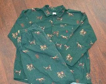 Vintage Ralph Lauren Underwear Polo Sportsman Hunting Dog Pajama Set - Size Large/XL