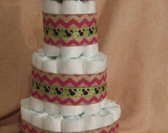 Minnie Mouse Diaper Cake in Burlap, Pink Chevron a Baby Shower Centerpiece