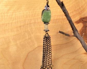 Ruby in Zoisite w/ Purple Velvet Swarovski Crystal Tassel Necklace