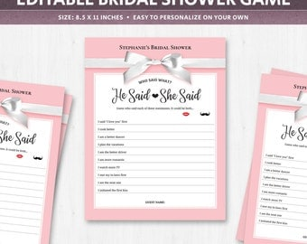 The shoe game questions bridal shower guessing game about the couple co-ed He said She said, bride or groom, get to know the couple, DIGITAL