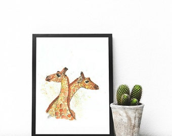 "Small ""Giraffe Love"" Original Art Print 
