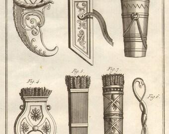 1804 Rare Antique Weapons Engraving Quiver Bow Arrows Laid Paper Encyclopédie Méthodique Recueil D'Antiquites French Paris