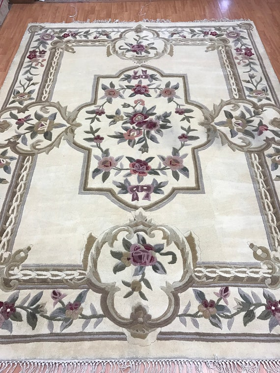 """8' x 10'4"""" Chinese Aubusson Oriental Rug - Full Pile - Hand Made - 100% Wool"""