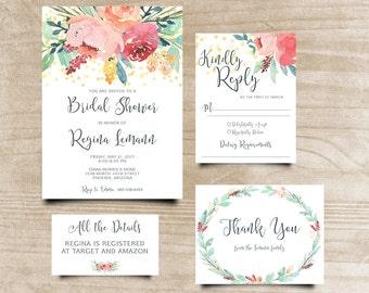 Peony Bridal Shower Invite, Boho Chic Invite, Calligraphy Invite, Handpainted Invite, Bohemian Invitation, Printable Shower Invitation