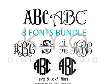 Fonts Bundle svg cut files, Digital Font svg, Monogram Font letters svg, cricut design space, silhouette, svg files, digital font