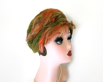 Vintage 1960's Green Velour/ Feather Mod Hat~ Charles of California