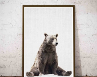 Bear Print, Nursery Wall Art, Woodland Nursery Decor, Printable Poster, Kids Room Decor, White Rustic Wall Art, Woodland Nursery Animal