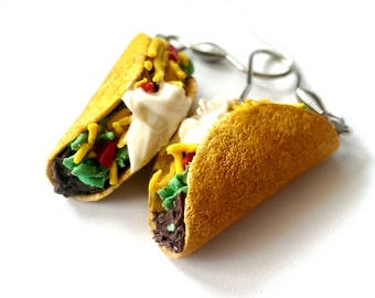 Realistic Taco Earrings, Food Jewelry Earrings, Miniature food charms, Funny taco accessories, Foodie Gift
