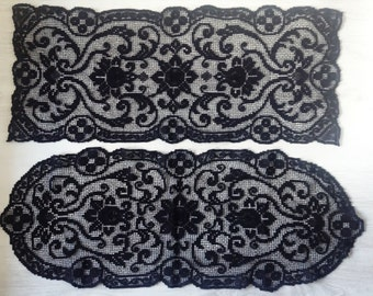 5 black crochet doilies | Italian vintage doily | gothic table cloth | floral black table cloth
