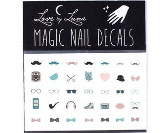 Whimsical Nail Decals / Owl Nail Decals / Cute Nail Decals / Hipster Nail Decals / Mustache Nail Decals / Animal Nail Decals