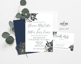 Printable Wedding Invitation Suite , Navy and Gold Wedding Invitation , DIY Wedding , Printable Wedding , Gold Floral Wedding Invitation