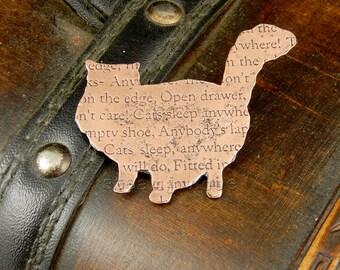 Cat brooch, cat jewellery, copper brooch, text jewellery, quote jewellery, poetry jewellery, copper jewellery, cat pin, animal brooch