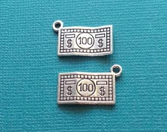10 Dollar Bill Charms Silver Money 100 Dollar Bill Charm - CS2719