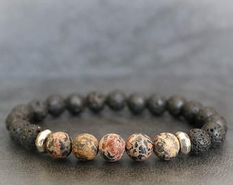 Mens Lava Bracelet, Mens Beaded Bracelet, Mens Jasper Bracelet, Lava Stone Bracelet, Lava Bracelet, Lava Rock Bracelet Lava Stretch Bracelet