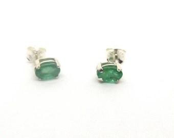6 x 4 mm Natural Emerald Stud Earrings