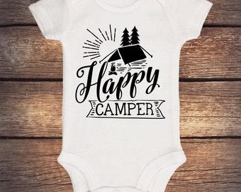 Happy Camper Onesie - Camp Fire - Wilderness - Trendy Kids- Outdoors Onesie - Happy Little Camper - Hiking - Camping Onesie - Hipster Shirt