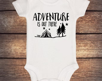 Adventure Is Out There Onesie - Camping - Wilderness - Take Home Outfit - Baby Shower Gift - Announcement Onesie - Coming Home Outfit