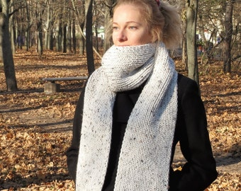 Chunky knit scarf Knit wool scarf cowl scarf women neck warmer chunky scarf women knit scarf wool cowl winter cowl long scarf white scarf