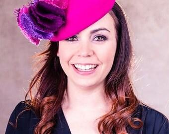 Women's Hat, Women's Fascinator, Mini Hat, Fuchsia Pink 'Beret' fascinator with Harris Tweed trim - Stephanie