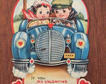 Vintage Valentine Card from the 1930's with fancy fold out tissue Great item for Collection