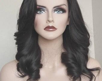 "Human Hair wig / 14"" Darkest brown European Virgin hair / Custom made wig Re-usuable guaranteed"